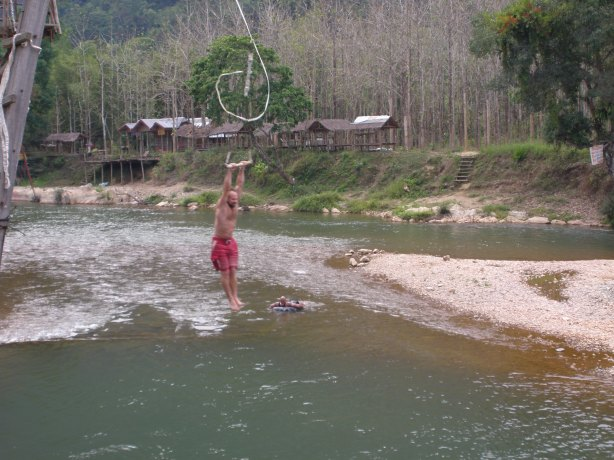 River water slide on Namsung, Laos